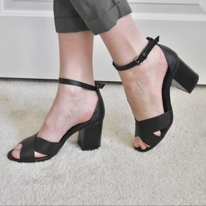 Forever 21 Block Heel Strappy Sandals Leather